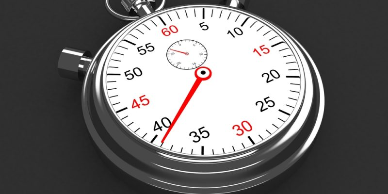 Vintage silver stopwatch on gray background. 3d render